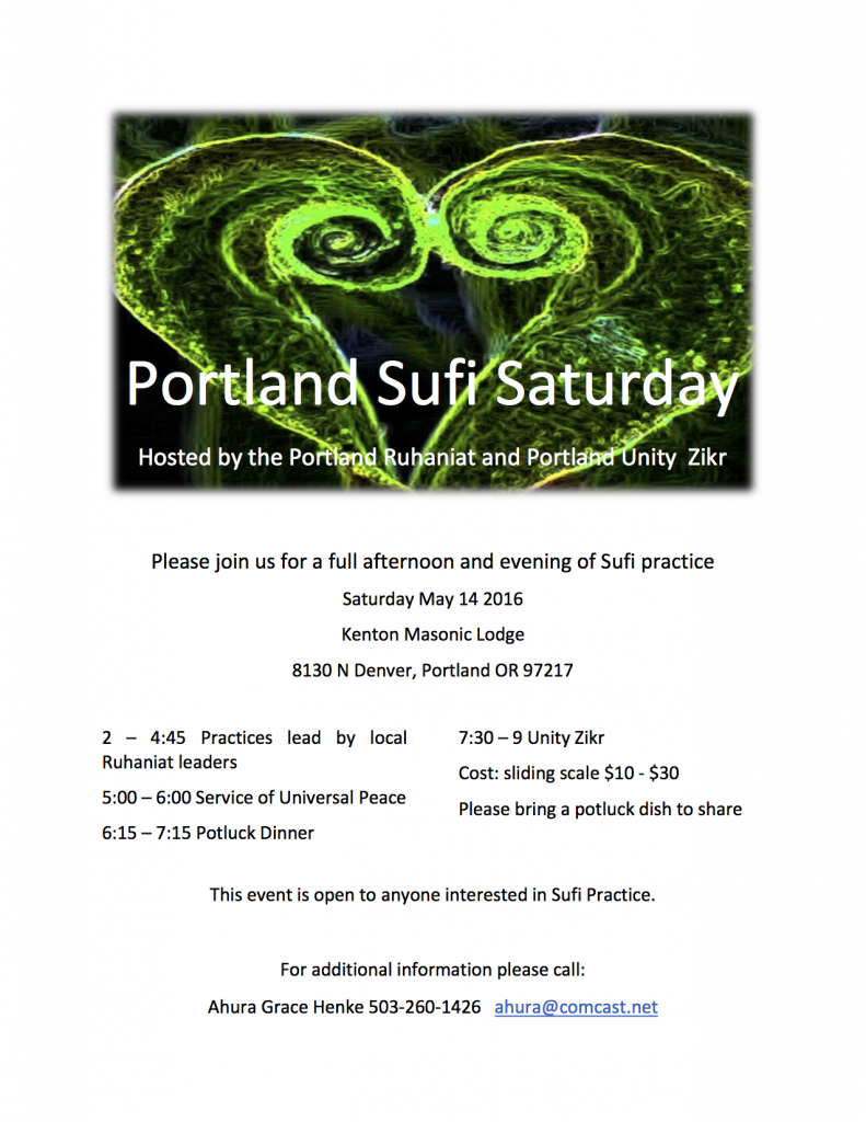 Portland Sufi Saturday, May 14th